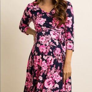 EUC PinkBlush Maternity Wrap Dress Navy Neon Pink